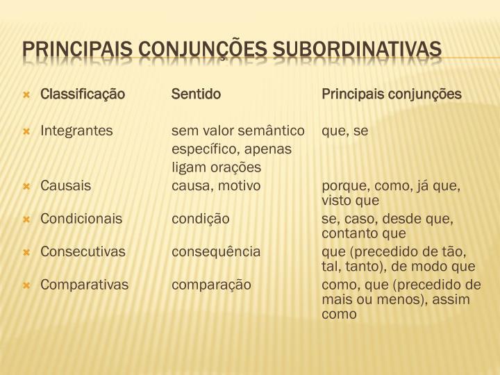 ClassificaçãoSentidoPrincipais conjunções