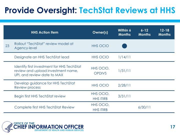 Provide Oversight: