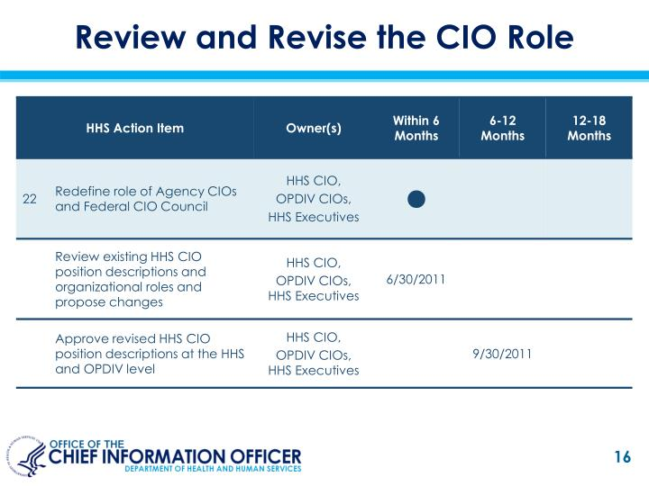 Review and Revise the CIO Role