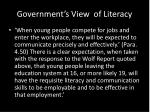 government s view of literacy