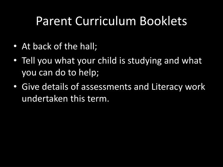 Parent Curriculum Booklets