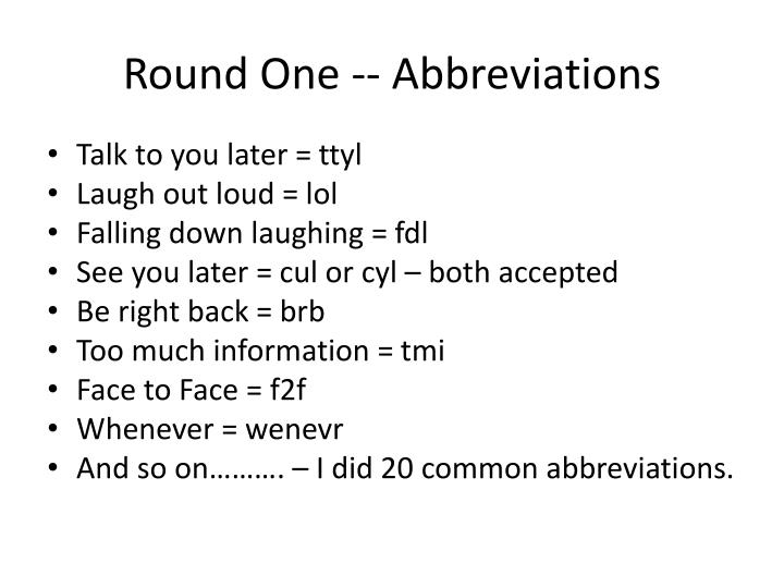 Round One -- Abbreviations