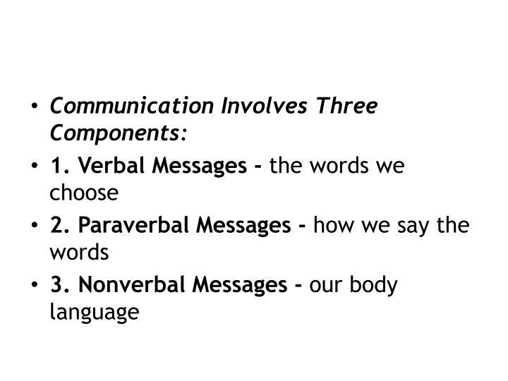 Communication Involves Three Components:
