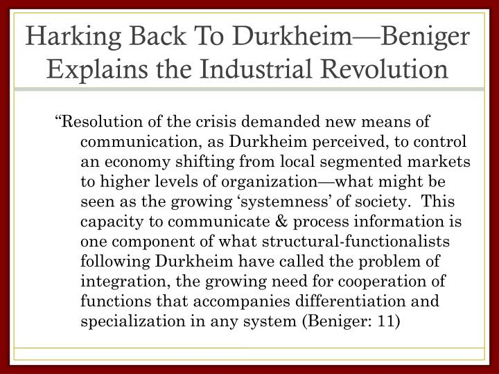 Harking Back To Durkheim—