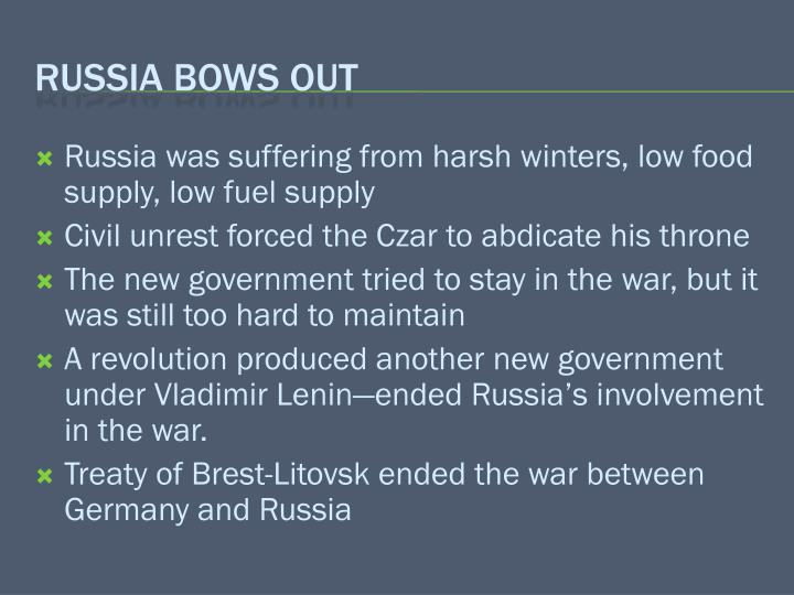 Russia was suffering from harsh winters, low food supply, low fuel supply