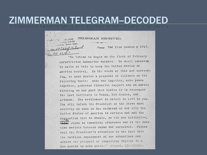 Zimmerman telegram--decoded