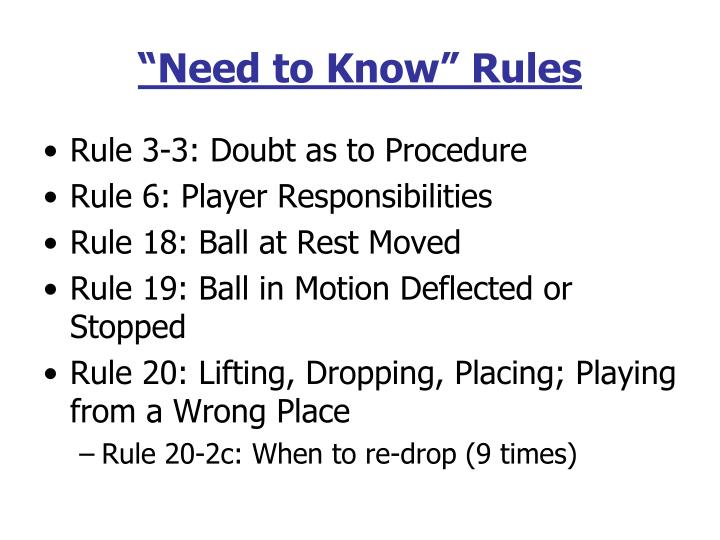 """Need to Know"" Rules"