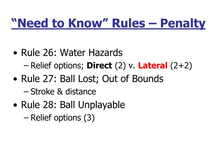 """Need to Know"" Rules – Penalty"
