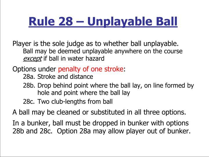Rule 28 – Unplayable Ball
