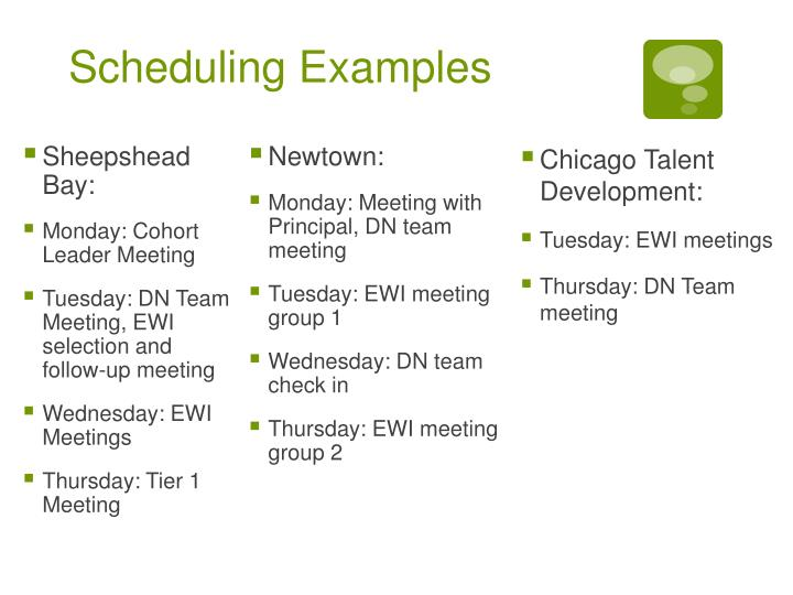 Scheduling Examples