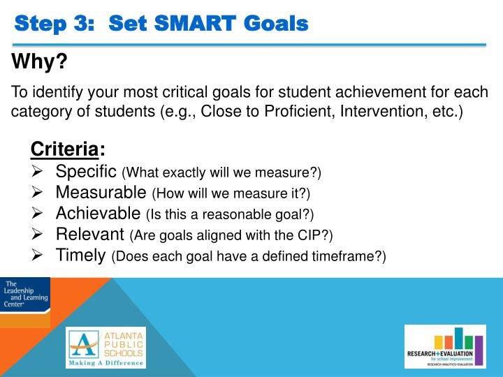 Step 3:  Set SMART Goals