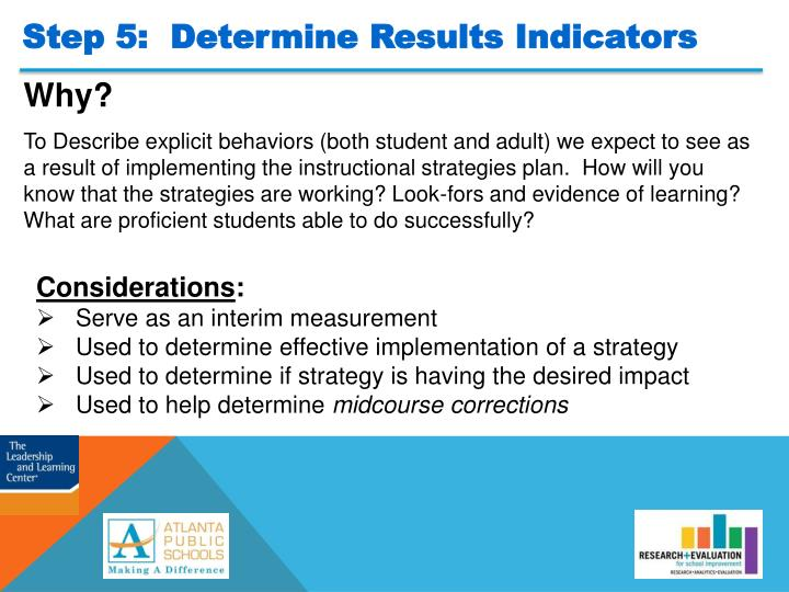 Step 5:  Determine Results Indicators