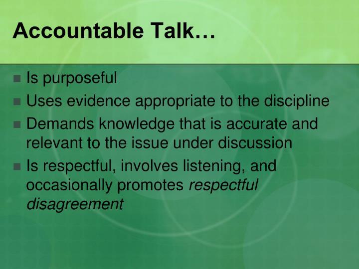 Accountable Talk…