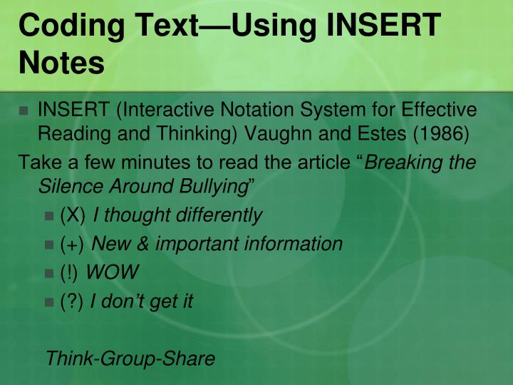Coding Text—Using INSERT Notes