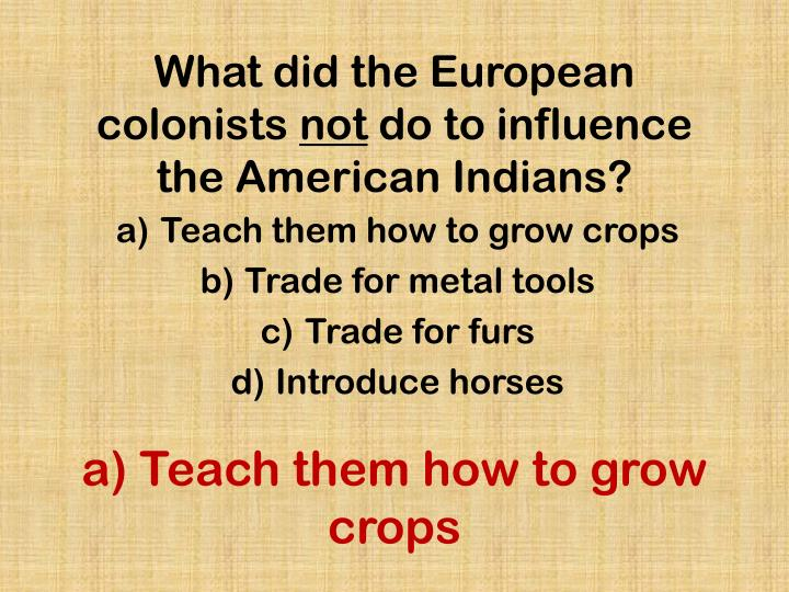 What did the European colonists