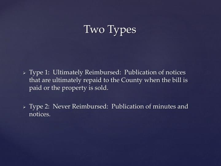 Type 1:  Ultimately Reimbursed:  Publication of notices that are ultimately repaid to the County when the bill is paid or the property is sold.