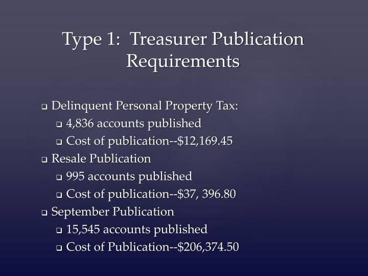 Type 1 treasurer publication requirements