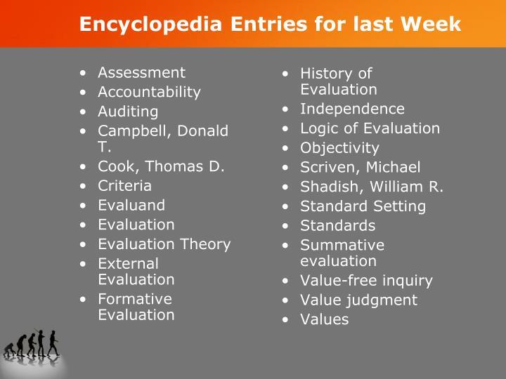 Encyclopedia Entries for last Week