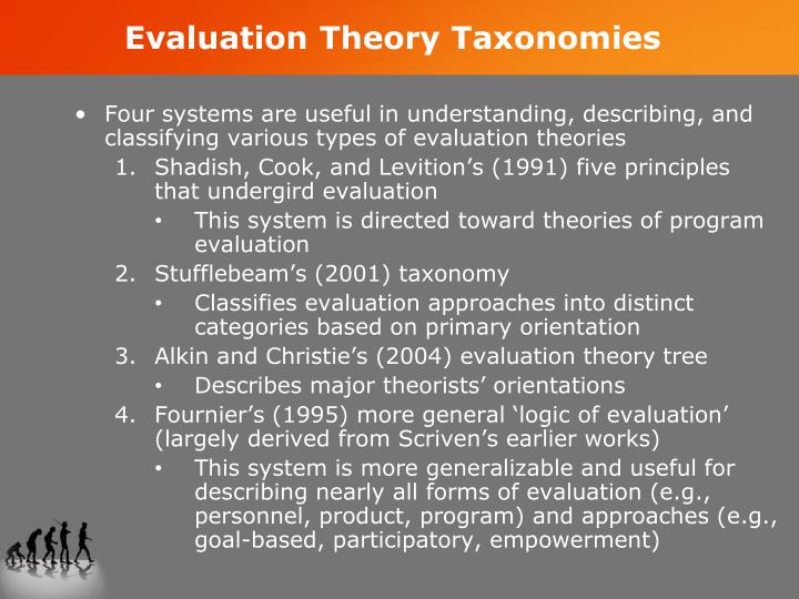 Evaluation Theory Taxonomies