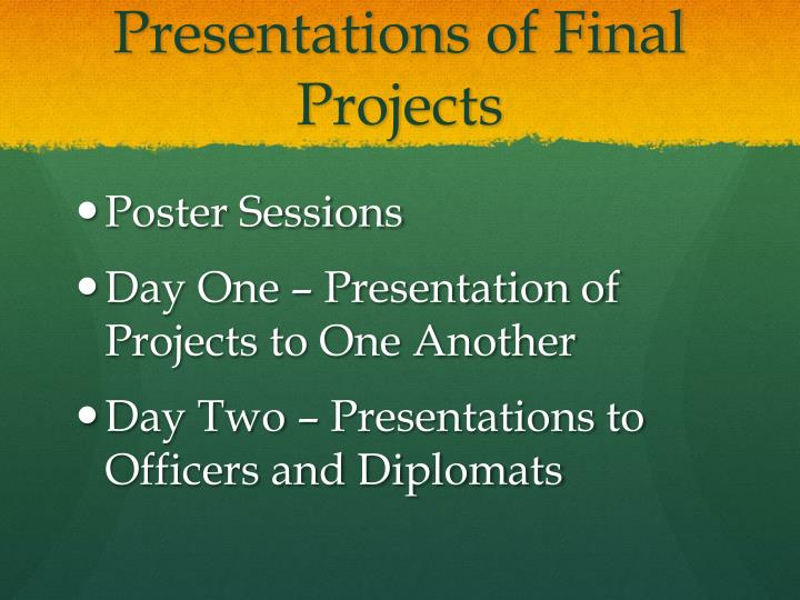 Presentations of Final Projects