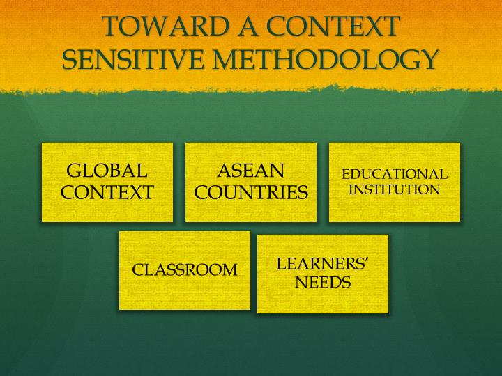 Toward a context sensitive methodology