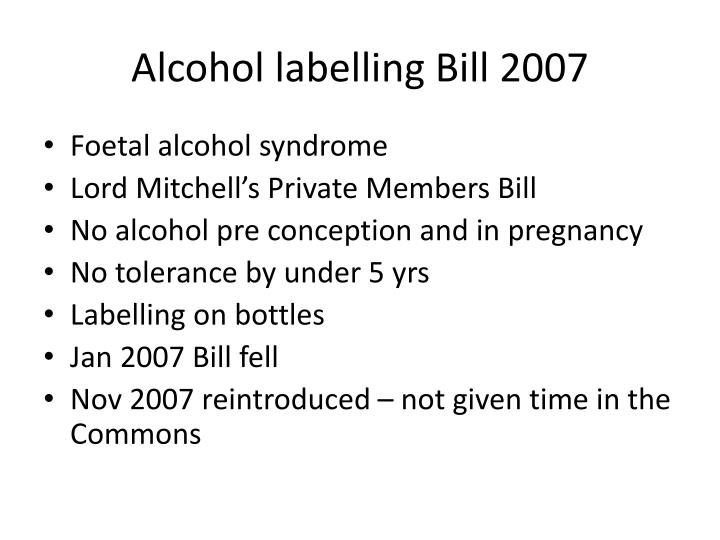 Alcohol labelling bill 2007