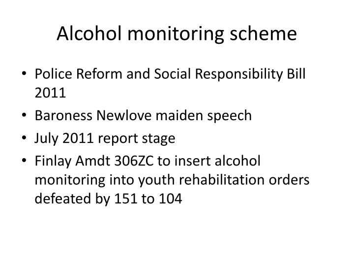 Alcohol monitoring scheme