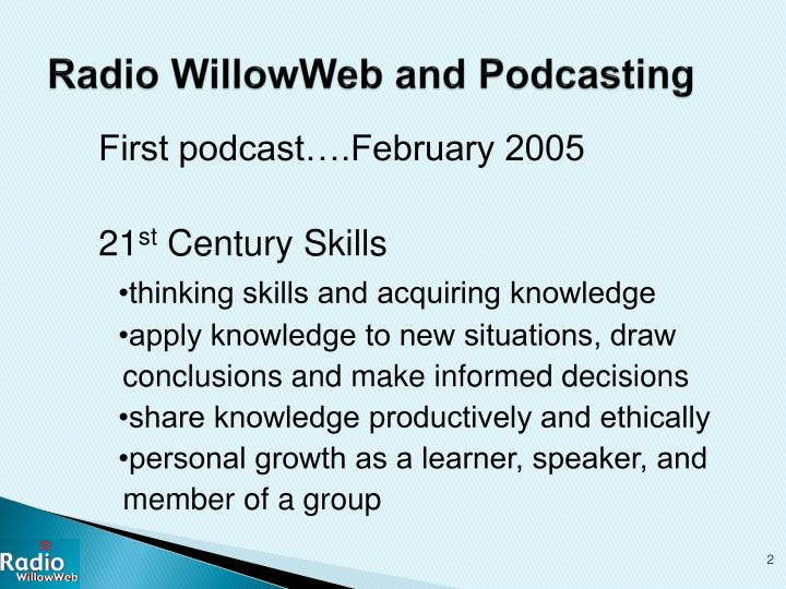 Radio WillowWeb and Podcasting