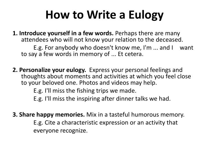 How to write a eulogy for a colleague