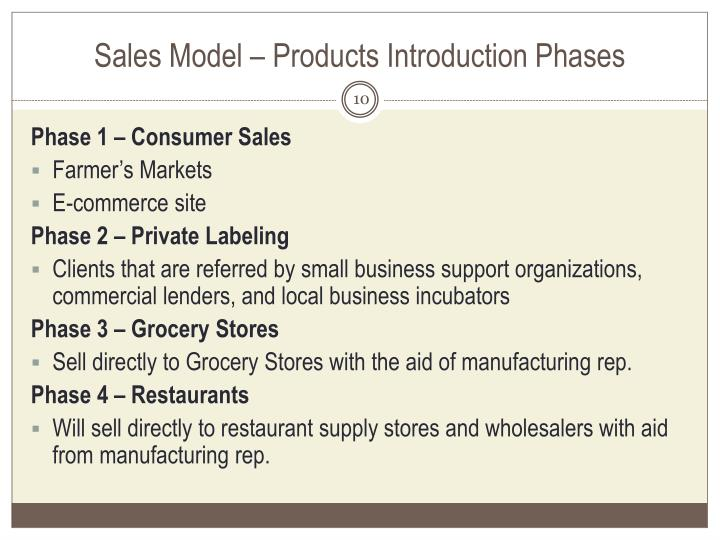 Sales Model – Products Introduction Phases