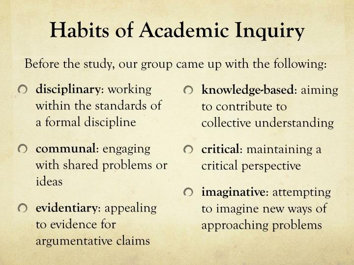 Habits of Academic Inquiry