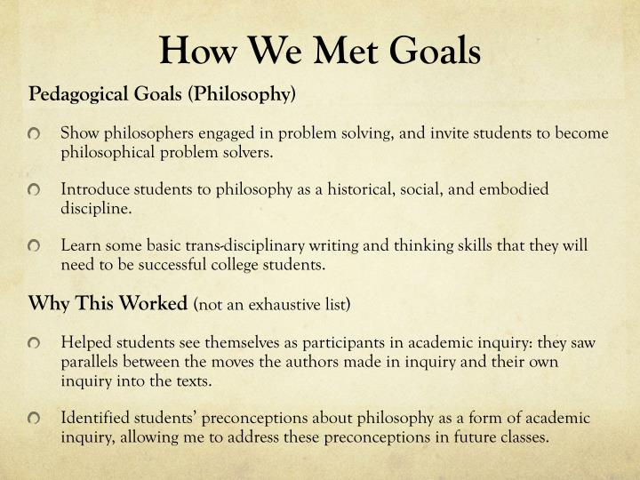 How We Met Goals