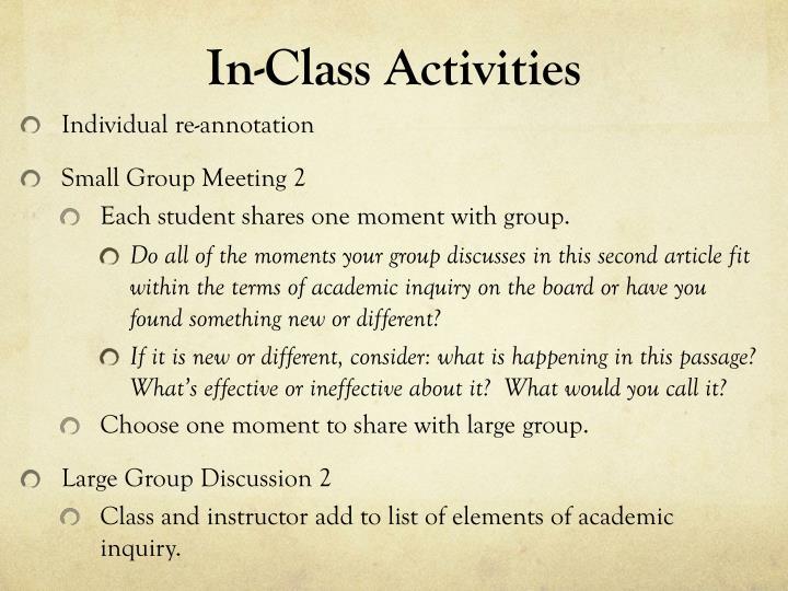 In-Class Activities