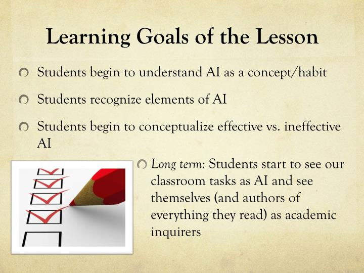 Learning Goals of the Lesson