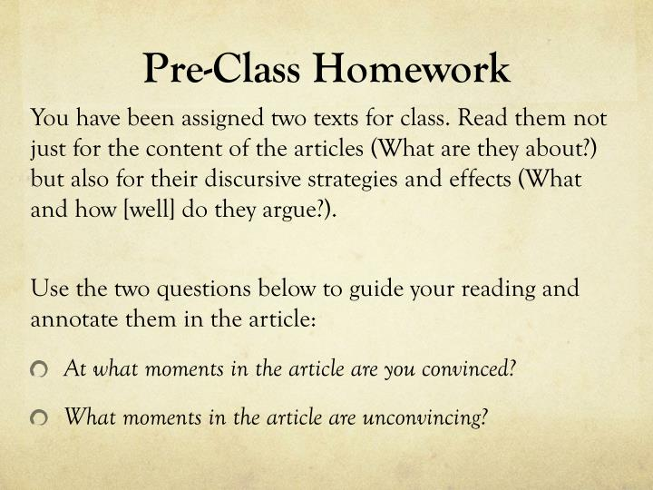 Pre-Class Homework