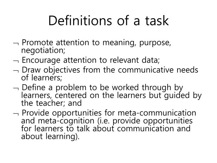 Definitions of a task