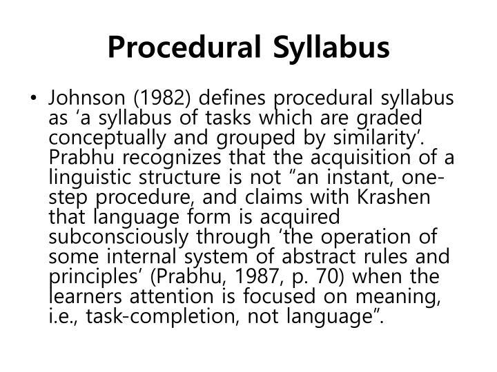 Procedural Syllabus