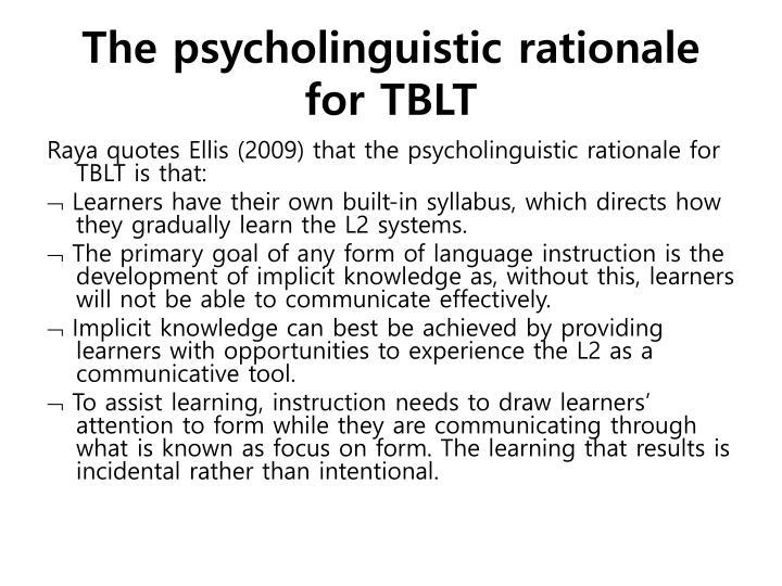 The psycholinguistic rationale for TBLT
