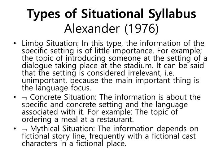 Types of Situational Syllabus