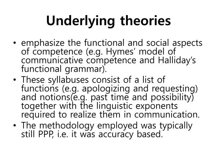 Underlying theories
