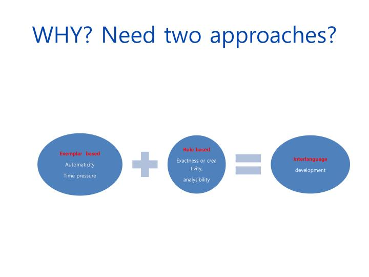 WHY? Need two approaches?