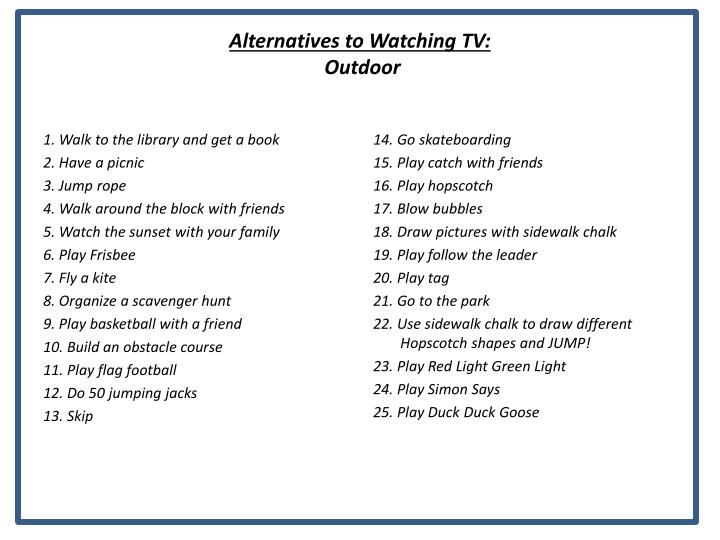 Alternatives to Watching TV: