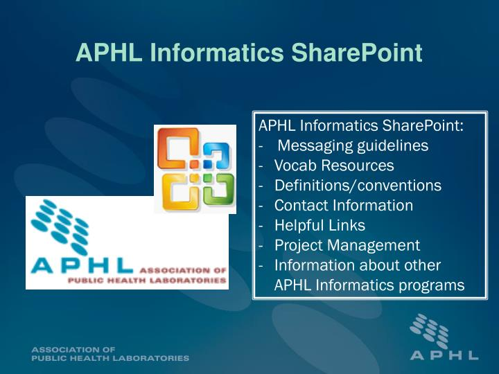 APHL Informatics SharePoint