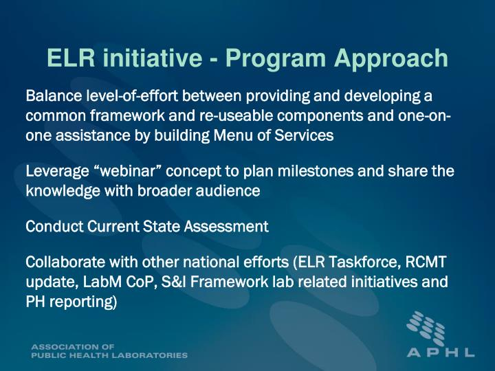 ELR initiative - Program Approach