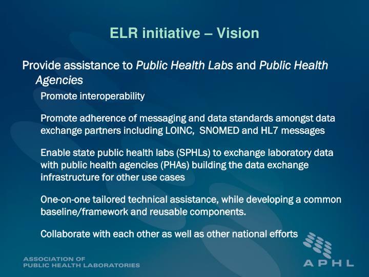 ELR initiative – Vision