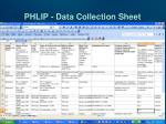 phlip data collection sheet