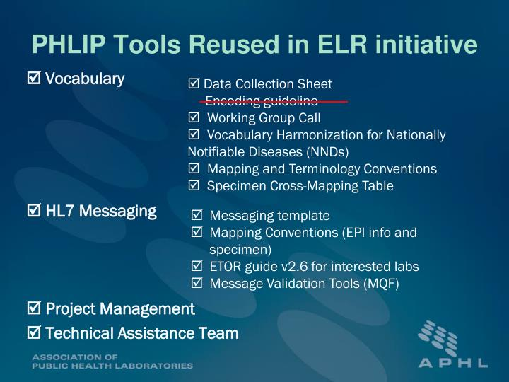 PHLIP Tools Reused in ELR initiative