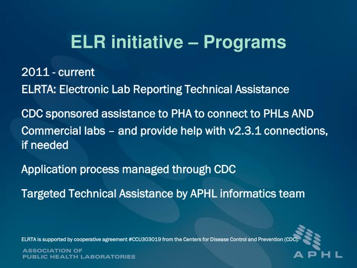 ELR initiative – Programs