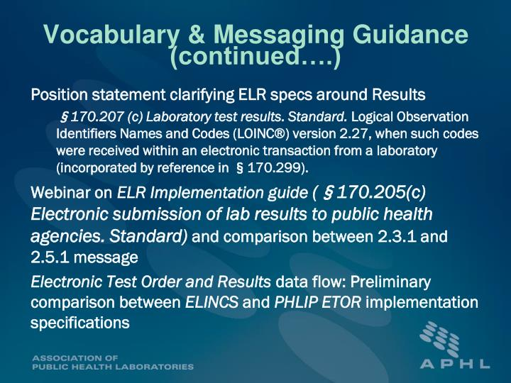 Vocabulary & Messaging Guidance (continued….)
