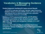 vocabulary messaging guidance continued